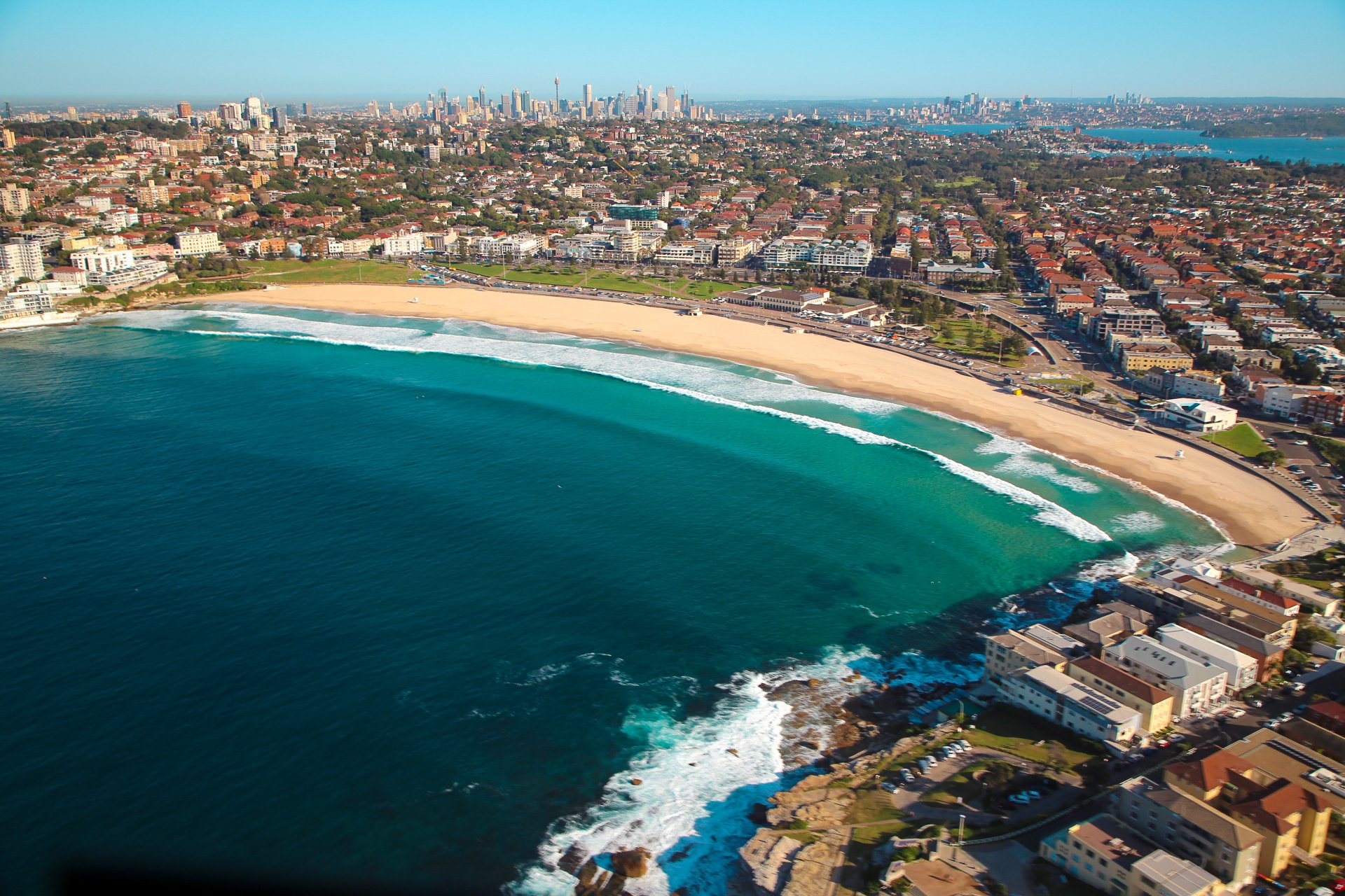 Bondi Beach looking to Sydney City